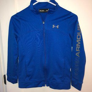 Under Armour track jacket sz YMD EUC LN royal blue